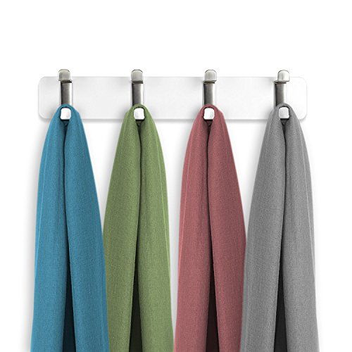 Wall Mount Coat Rack - Entry-Way Storage Rack (Brushed Nickel) Wall Mounted Hook Hanger and Towel Rack for Jackets, Coats, Hats, and Scarves