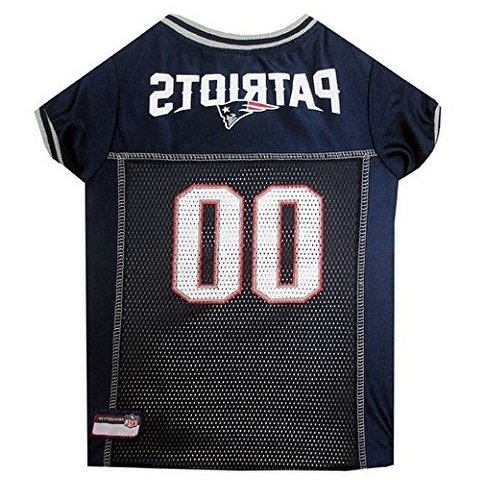 NFL Superbowl LI Champion New England Patriots Themed Team Football Jersey X Large Dog Size, Navy Blue Red Grey White The Pats Super Bowl 51 Winner, NE Patriot Sports Fan Logo Animal Pet (Navy Blue Pet Jersey)
