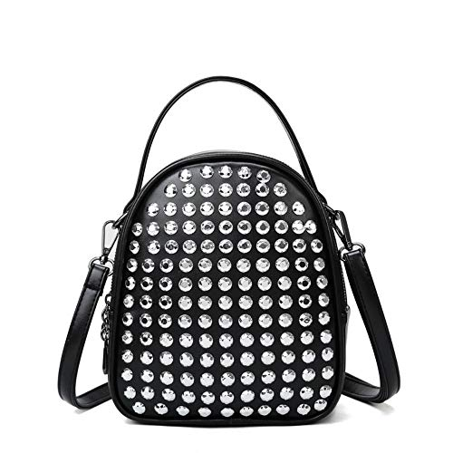 JNML PU leather diamond-studded backpack simple box women's designer,Beige