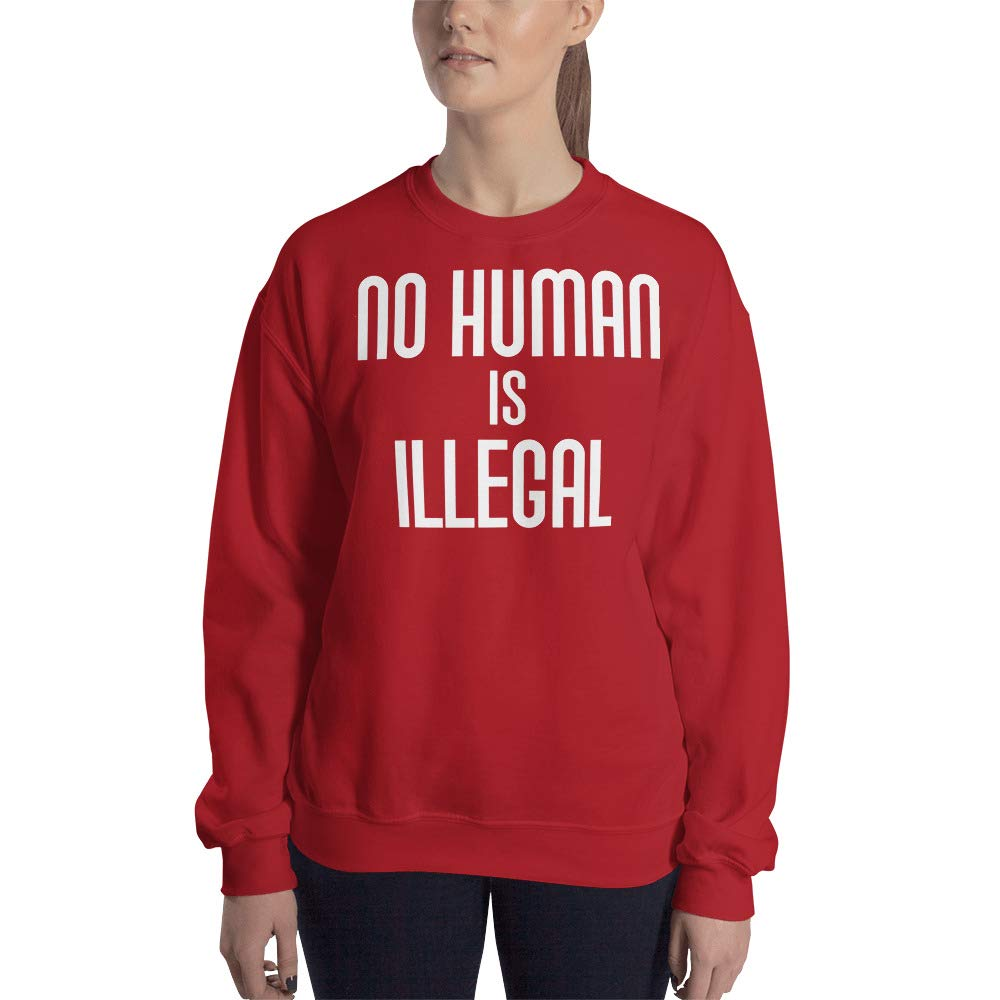 Sweatshirt Red No Human is Illegal