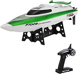 GoolRC FT009 RC Boat for Kids or Adults, 2.4G Remote Control Boat, 30KM/H High Speed RC Racing Boat with Water Cooling Self-righting System for Pools and Lakes (Green)