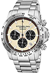 "Stuhrling Original Mens Sport Chronograph Watch - Stainless Steel Brushed Matte Bracelet, 891 Formula ""i"" Watches Collection (Ivory)"