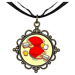 Chicforest Bronze Retro Style Olympics table tennis paddle and ball Round Flower Pendant