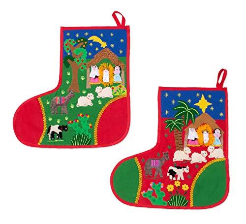 - NOVICA HD0003 Holy Night' (Pair) Applique Christmas Stockings