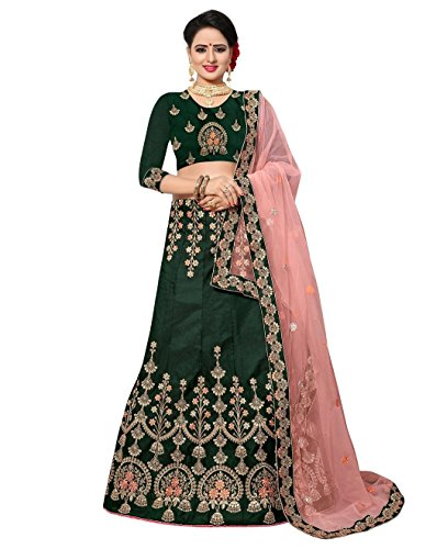 (CRAZYBACHAT Latest Indian Designer Velvet Satin Pine Green Color Lehenga Choli)