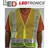 Roadway Lime Green Safety Vest, Flashing RED LEDS, ANSI-107 Class 2, Xtra Large