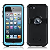 ipod 5 case light blue - FAVOLCANO New Version Knight Series IP68 Underwater Waterproof Shockproof Snowproof Dirtproof Durable Full Sealed Protection Case with Kickstand for iPod Touch 5th 6th Generation (Light Blue)