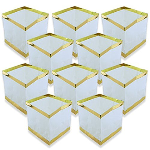 Just-Artifacts-Square-Floating-Water-Lantern-w-Gold-Border-Wax-Tealight-Candle-10pcs