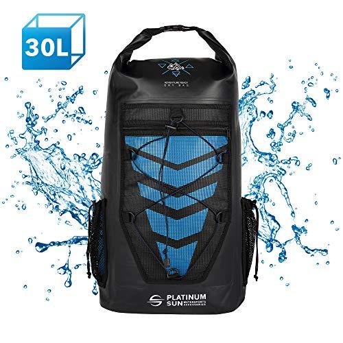 Platinum Sun 30L Waterproof Dry Bag Backpack - Rolltop Floating Backpacks - Sailing Bags for Kayaking Fishing Canoeing Kite Surfing Hiking Boating Swimming Water Sports - Blue