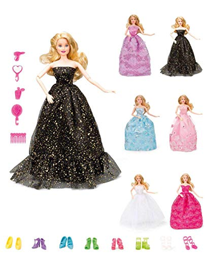 Wedding Dresses for Girls Dolls - 19 Pcs Fashion Doll Clothes Princess Gowns Outfit Costume Suit for 11.5 Inch Doll Kids Girls Xmas Party Favor Toy
