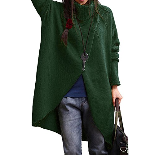 Slim Bloom Womens Turtle Neck Casual Oversize Knit Long Sleeve Sweater Dress Cardigan Coat Green (Turtleneck Sweater Coat)