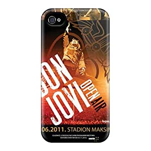 Excellent Hard Cell-phone Case For Iphone 4/4s (Qip18761bPtl) Support Personal Customs Beautiful Bon Jovi Pictures