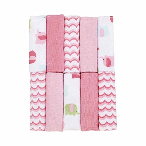Just Born Love To Bathe Woven Washcloth Set, Elephant/Pink, 10 Count