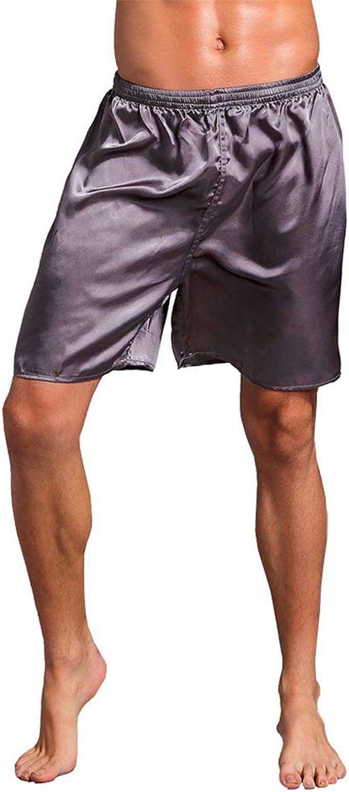 LUNULE Pantalones Cortos de casa para Hombre, Bermudas Hombre, Pantalon Corto de Pijama de Seda Satinado Ropa de Dormir Ropa de salón Ropa Interior Pantalones Cortos Suaves para Hombre: Amazon.es: Ropa y