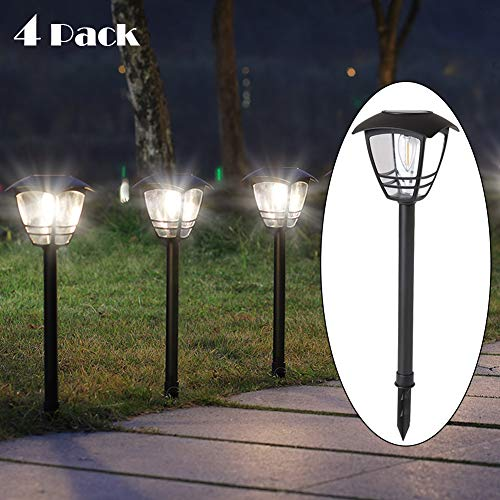 Maggift Vintage Solar Pathway Lights LED Bulbs Solar Powered Garden Walkway Lights for Outdoor Lawn, Patio, Yard, Walkway, Driveway (4 Pack, 10 Lumen) (Solar Garden Outdoor Lights Powered)