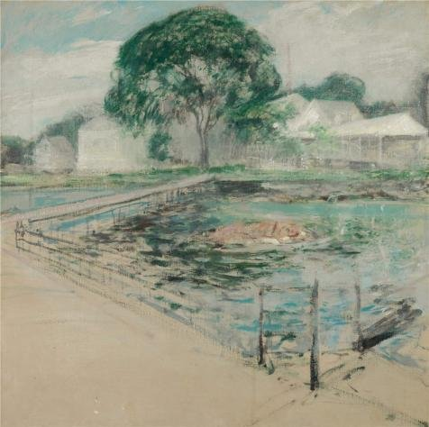 (Oil Painting 'John Henry Twachtman,Harbor View Hotel,1902', 8 x 8 inch / 20 x 20 cm , on High Definition HD canvas prints is for Gifts And Hallway, Kitchen And Study Room Decoration, home)