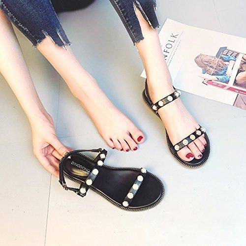 De Estudiantes Las De La Planas GAOLIM Zapatos Verano Sandalias Mujeres Perla Negro Mujer Con Flat 7BwdSdx
