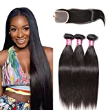 Longqi Beauty Unprocessed Brazilian Straight Virgin Human Hair Weave 3 Bundles with 1 piece 3 Part Lace Top Closure 100% Human Hair (16 18 20+14closure) For Sale