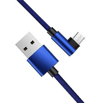 LoongGate Cable Micro USB DE 90 Grados, Tipo Codo, Trenzado, 2 A, Cable de Carga Rápida, Transmisión de Datos, Sincronización para Samsung Galaxy S7 ...