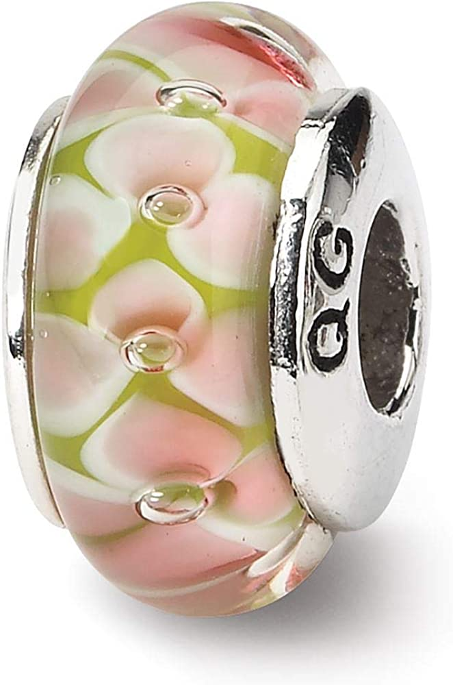 Beautiful Sterling Silver Reflections Red Floral Hand-blown Glass Bead