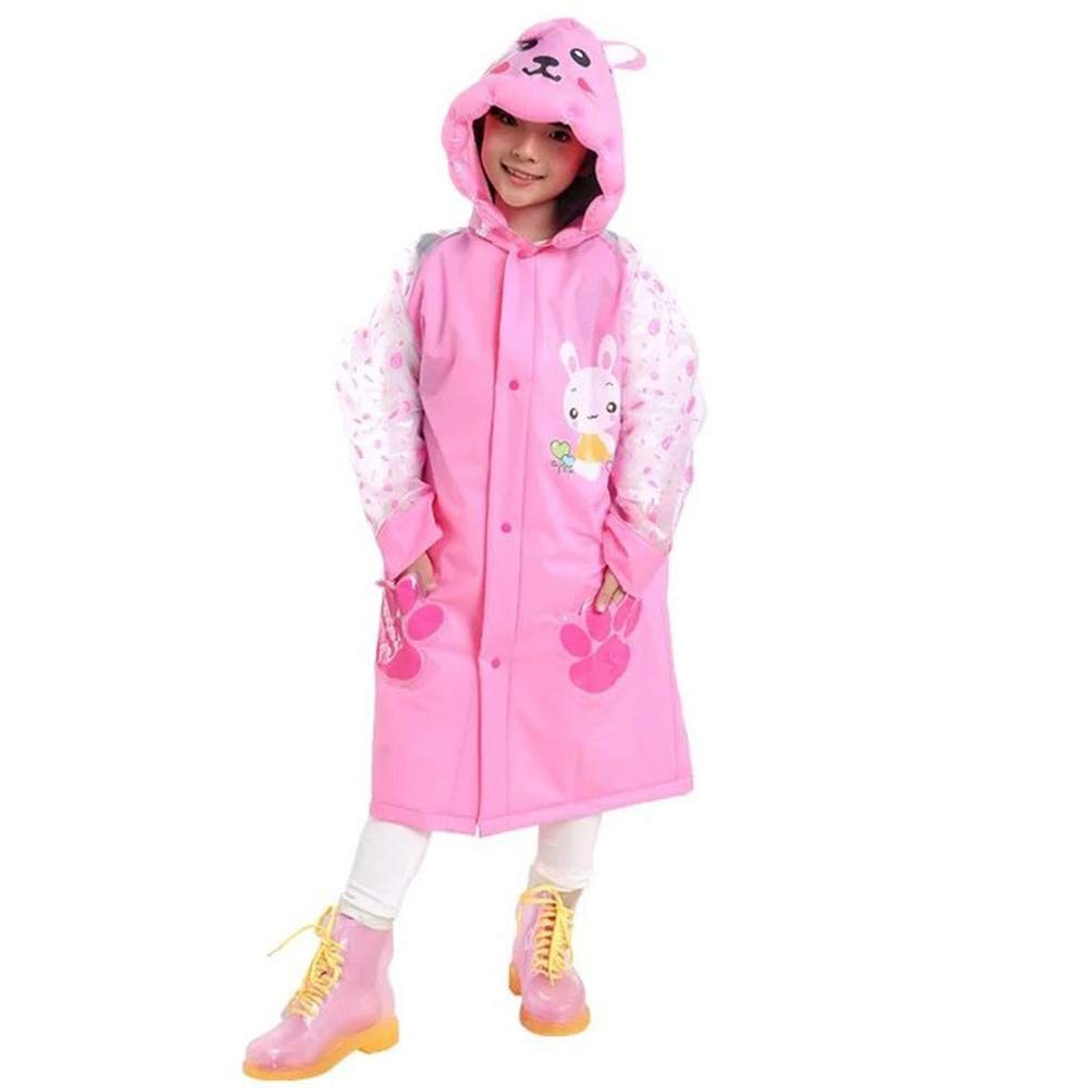 Sywwlov Kids Toddler Raincoat Hooded School Backpack Reusable Rain Ponchos Cape Jacket Rainwear (Pink, M(Fit 42.9''-46.8'' Height))