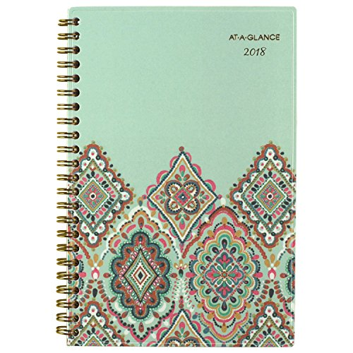 ATAGLANCE Weekly / Monthly Planner January 2018  December 2018 47/8quot x 8quot Marrakesh Light Green 182200