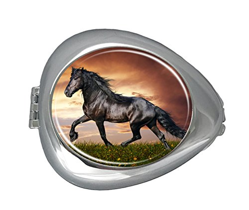 DANIEL MOXLEYB Pill Box Case Decorative Boxes Silver Pill Box Holder Organizer Container Compact 3 Compartment Medicine Case, Oval Pill Box For Pocket or Purse (Brown Horse) by DANIEL MOXLEYB