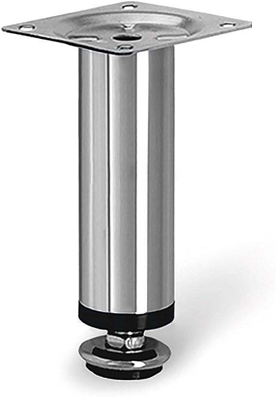 10 x Mprofi MT® Patas de Metal muebles armario de cocina pies redondo cromo pulido altura 100 mm diámetro de 30 mm altura regulable