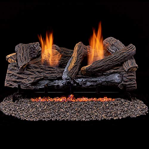 Duluth Forge Ventless Propane Set 24 in. Split Red Oak-Manual Control Gas logs
