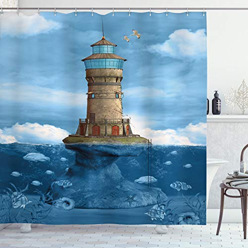 Ambesonne Lighthouse Decor Collection, Lighthouse Seagulls Birds Architecture Maritime Reef Fish Undersea Scenic, Polyester Fabric Bathroom Shower Curtain Set with Hooks, Teal Blue Ivory Green