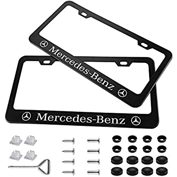 """/""""MERCEDES LOGO/"""" Stainless Steel License Plate Frame Rust Free W// Bolt Caps"""