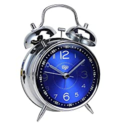 "Justup Kids Alarm Clock, 4"" Twin Bell Retro Vintage Table Desk Metal Alarm Clock Battery Operated with Nightlight for Heavey Sleeper Kids Bedroom Living Room (Blue)"