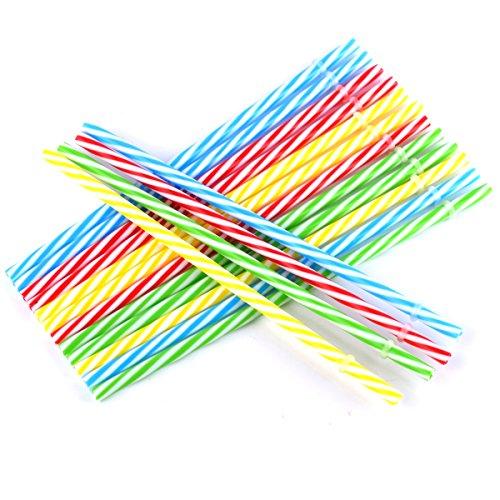 KKMO 12 PCS BPA-Free Reusable Plastic Thick Drinking Party Stripe Straws for Mason Jar Yeti