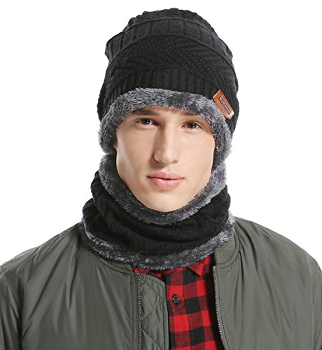 Waffle Weave Crochet (Lovful Men's Fashion Winter Thick Warm Knitted Hat and Circle Scarf 2 Pieces, Black)