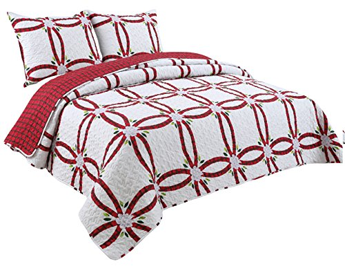 (Coast to Coast Living Quilt Sets, Luxurious 3pc Bedspreads- Cotton Rich Soft (Aspen, Queen))