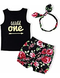 Baby Girl Clothes Wild One Vest and Floral Pants Outfits with Bowknot Headband Black