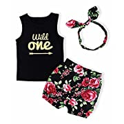 Baby Girl T-Shirt Clothes Wild One Vest and Floral Pants Outfits with Bowknot Headband(0-6 Months)