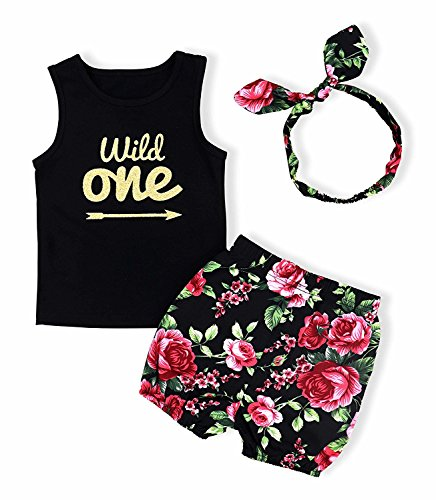 Baby Girl T-Shirt Clothes Wild One Vest and Floral Pants Outfits with Bowknot Headband(18-24 Months)