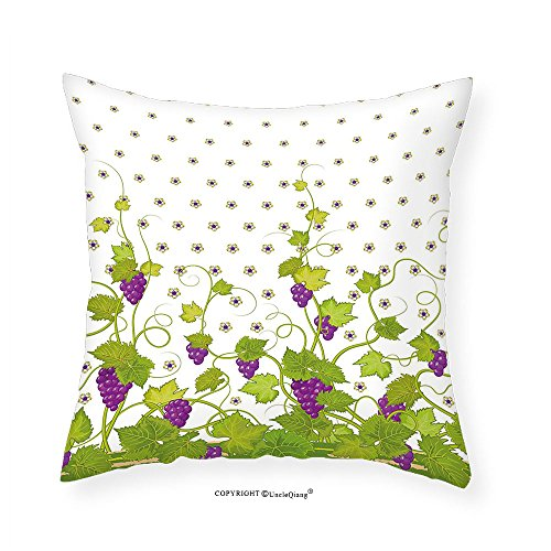 VROSELV Custom Cotton Linen Pillowcase Grapes Home Decor Winery Ivy Italian Wine Field Floral Vintage Grape Curls Illustration for Bedroom Living Room Dorm Violet Green 22