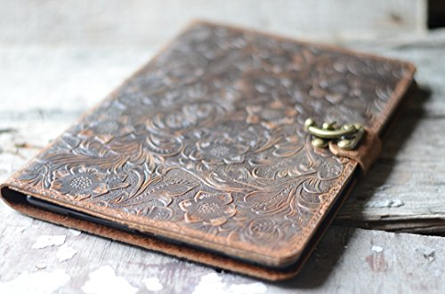 Handmade Genuine Leather Wallet Case for Apple Ipad mini 3 / mini 2 / mini 1 / mini 4 / air / air 2 / Pro 9.7 / Pro 12.9 / 2017 iPad 9.7 Luxury Tooled Leather Folio Cover Italy Vintage Flowers