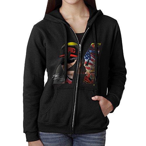 KOBT Women's Jeff Gordon 24 Nascar Full Zip Hooded Sweatshirt Jackets Black Size M