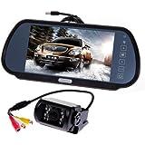 7 Pouces écran de stationnement rétroviseur miroir moniteur LCD TFT vu arrière+Caméra de recul couleur avec larges anles vision 120°et vision nocturne etanche