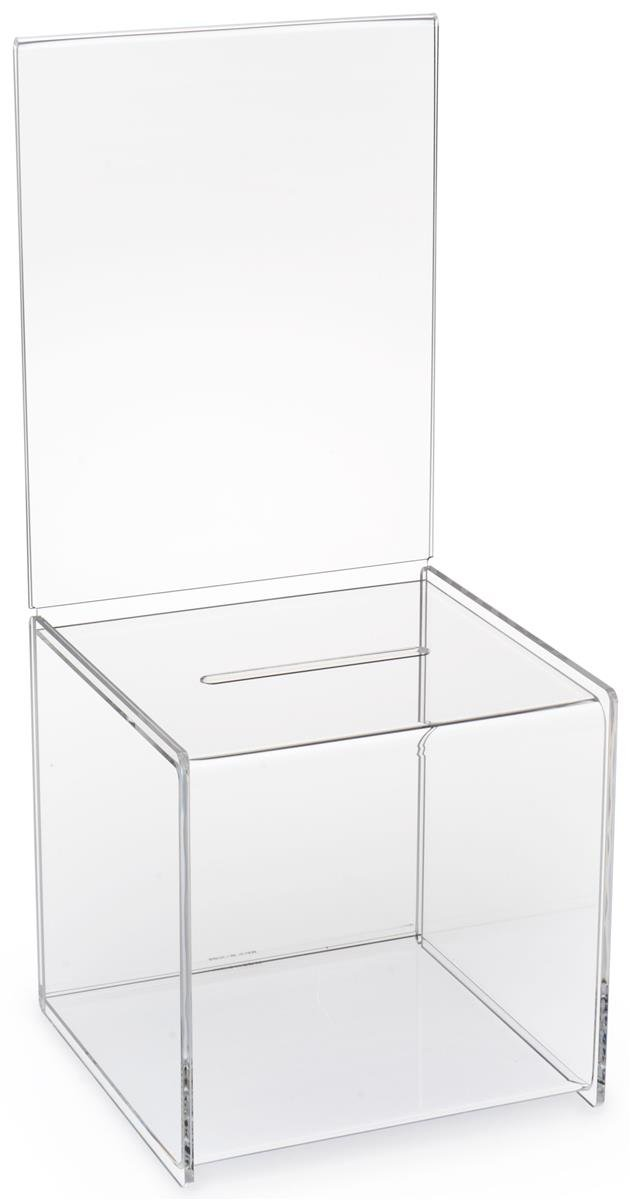 Displays2go Set of 2, 8-1/2 x 19-1/2-Inch Clear Acrylic Ballot Box, For Countertop Use, With A Sign Frame (CBBSH87)