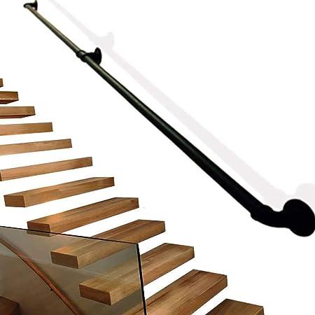 Escalera Baranda, Inicio contra la Pared Interior de la Cerca del Corredor del ático Viejo Antideslizante Baranda, El Corredor Barandilla Muro de Seguridad Barra de Soporte Negro (Size : 50cm): Amazon.es: Hogar