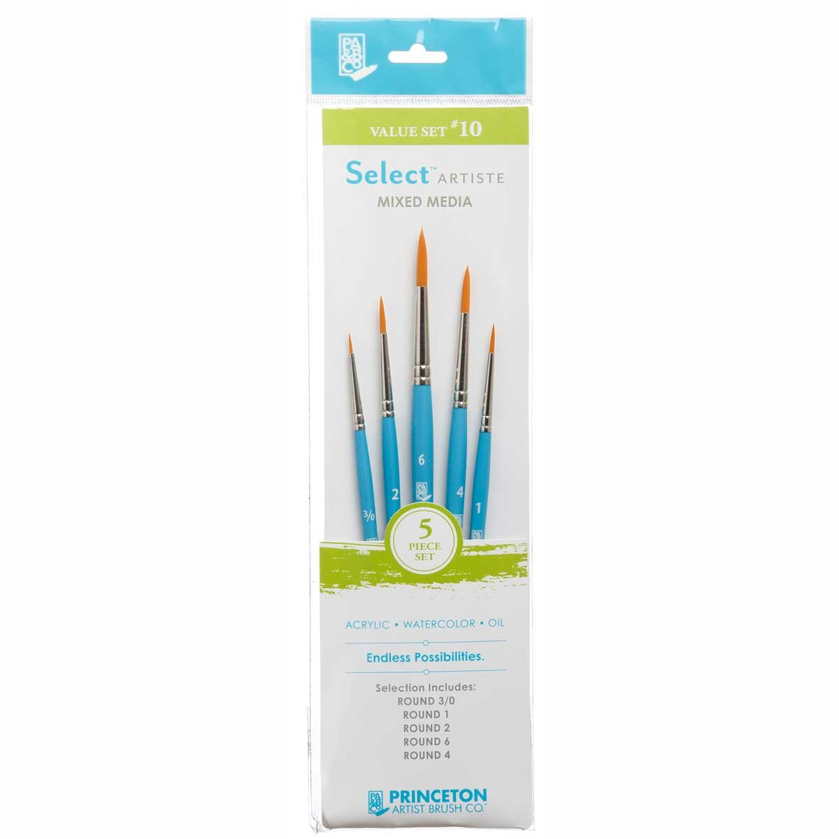 Princeton Select Artiste, Mixed-Media Brushes for Acrylic, Oil, Watercolor Series 3750, 5 Piece Value Set 110 by Princeton Artist Brush
