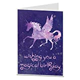 Unicorn Birthday Card For Her Girls Women Cosmic Magical Design