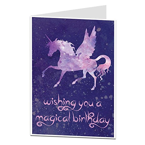 - Unicorn Birthday Card For Girls & Women Cosmic Design Perfect For Daughters Sisters & Best Friends