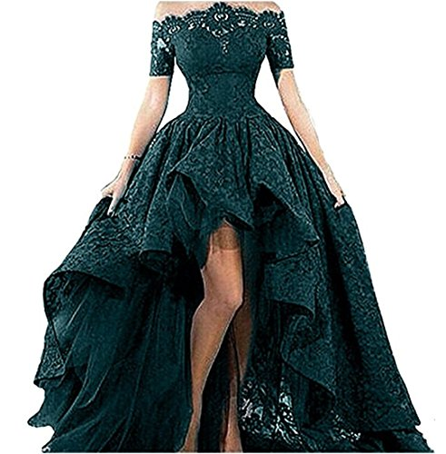 Jade Evenings Womens Dress (Women's Off Shoulder Lace Long Prom Dress High Low Homecoming Dress Jade 14)