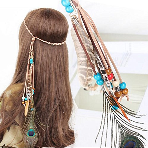 Hippie Dress | Long, Boho, Vintage, 70s A&c Indiana Princess Peacock Feather Head Chain for Girl Fashion Headband for Women. (Blue) $8.66 AT vintagedancer.com