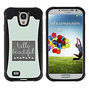 Fuerte Suave TPU GEL Caso Carcasa de Protección Funda para Samsung Galaxy S4 I9500 / Business Style Girl Silhouette Bow Pink Hairdresser Beige